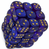 Purple & Gold Borealis 12mm D6 Dice Block